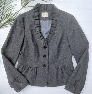 LOFT Charcoal Peplum Wool Blend Blazer